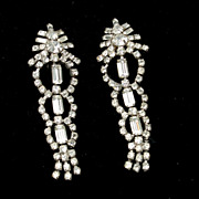 Runway Ready! Vintage Enormous Clear Rhinestone Dangling Earrings