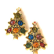 Vintage PAKULA Christmas Tree Rhinestone Clip Earrings