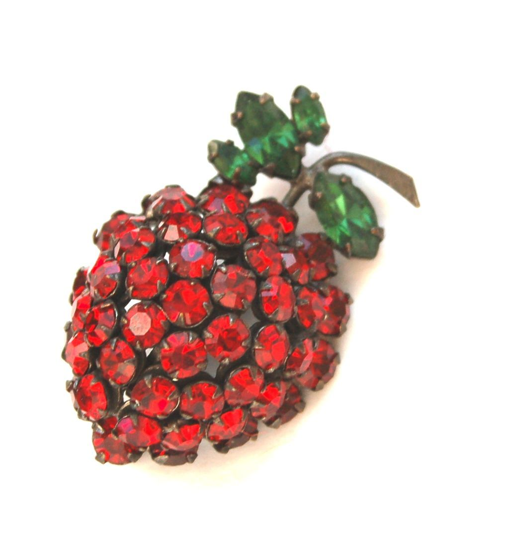 Vintage SCHREINER Forbidden Fruit Red Rhinestone Pin Strawberry