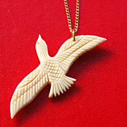 Early Gold Filled Sea Gull Bird Carved Pendant Necklace and Chain