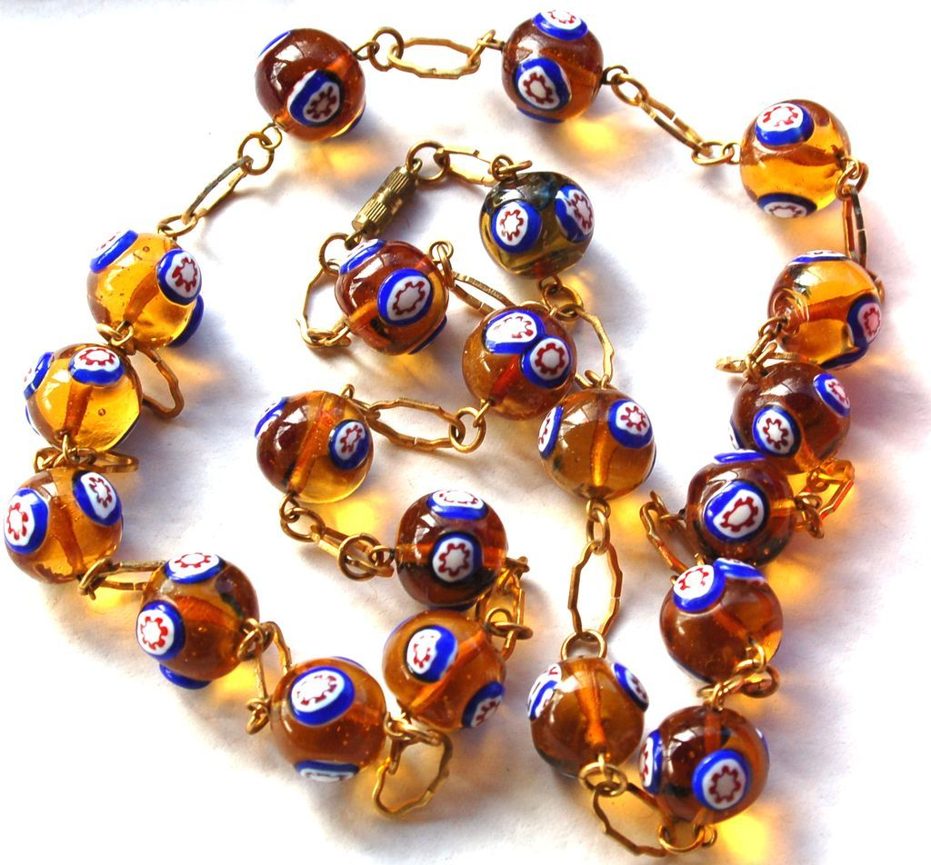 Vintage Lampwork Glass Bead Necklace, Gold Toned Accent Metal
