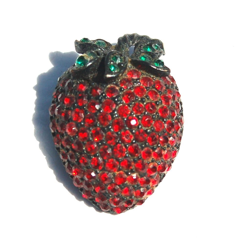 Vintage Signed WEISS Red Rhinestone Strawberry Pin