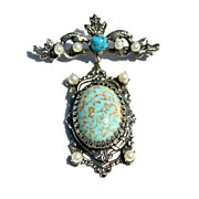 Vintage Faux Turquoise and Faux Pearl Pin