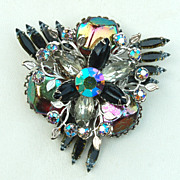Vintage BEAU JEWELS Lava Rock and Rhinestone Pin