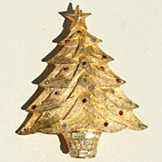 Vintage Rhinestone Potted Christmas Tree Pin