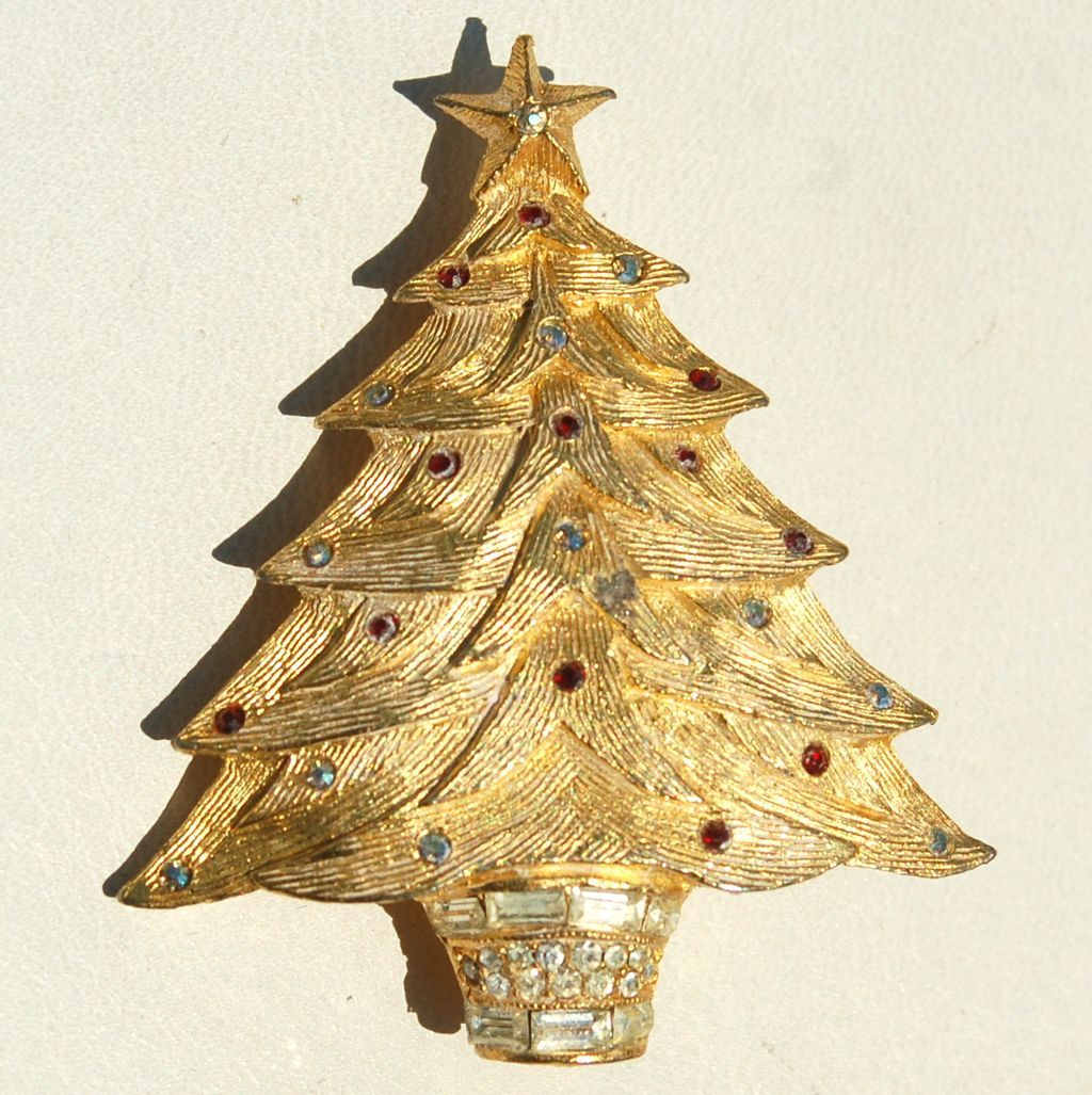 Vintage Rhinestone Potted Christmas Tree Pin