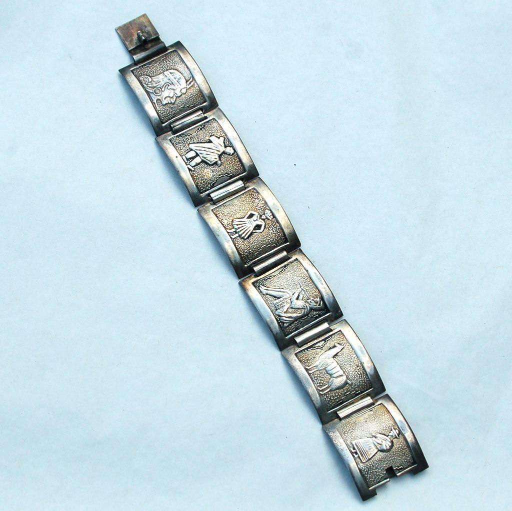 Vintage Hallmarked PERU Sterling Silver 6 Panel Bracelet