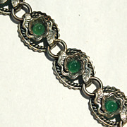Early Hallmarked NAPIER STERLING Silver Bracelet, 50 Grams, Chrysoprase Green Stones