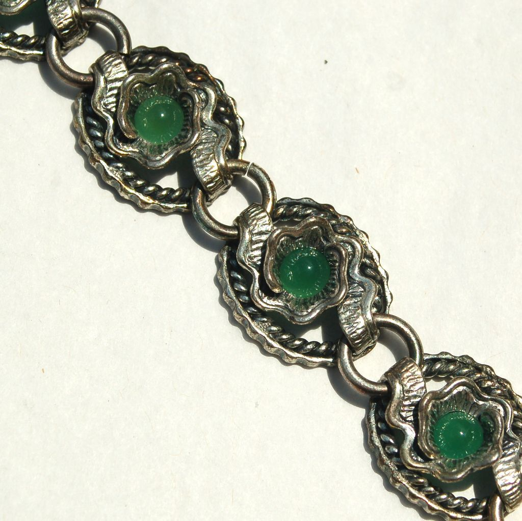 Early Hallmarked NAPIER STERLING Silver Bracelet, 50 Grams, Chrysoprase Green Stones