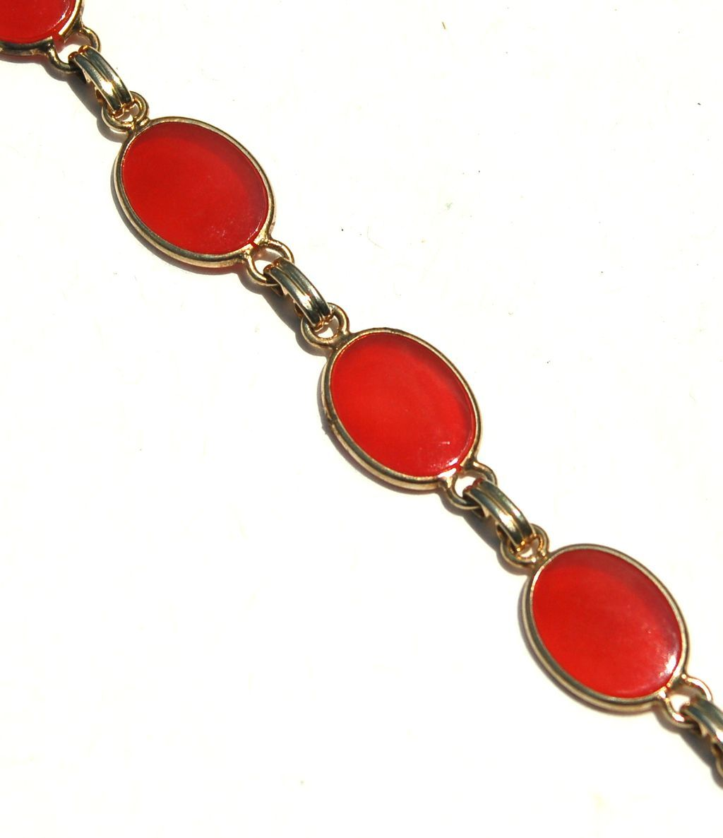 Vintage Scarab Style Bracelet, 6 Smooth Carnelian Colored Stones