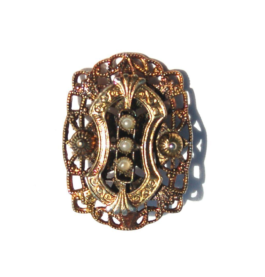 Vintage Victorian Revival Faux Pearl Pin Pendant Combo
