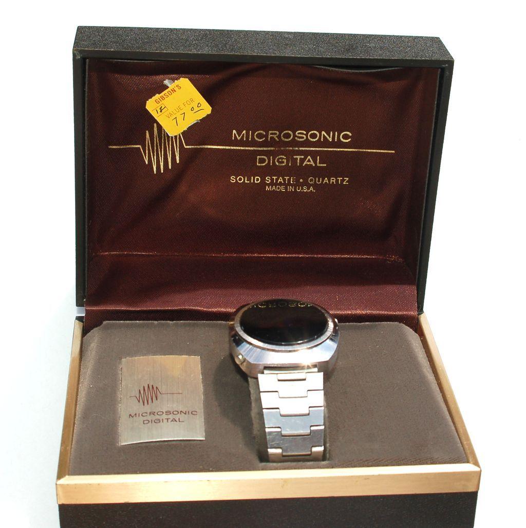 Rare Vintage 1970's MICROSONIC Led Watch In Original Box