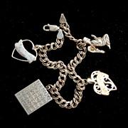 Vintage STERLING SILVER Double Link Charm Bracelet, Heart Angel Bingo