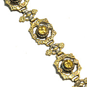 Early Signed ITALY Ornate Floral Link Bracelet With Yellow Stones