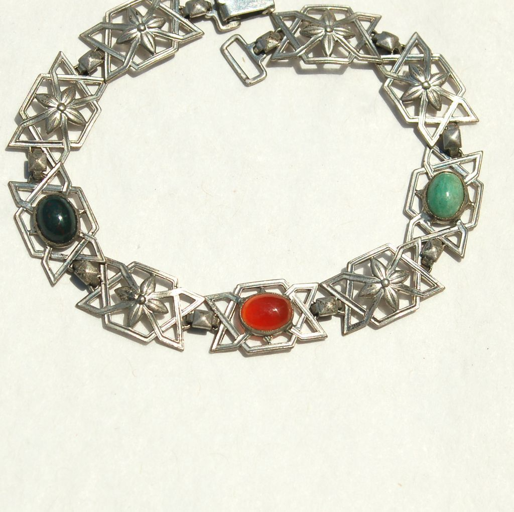 Early Hallmarked STERLING Silver Bracelet, Bloodstone, Carnelian