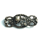 Early Hallmarked 800 Silver Art Nouveau Pin, Floral Rose