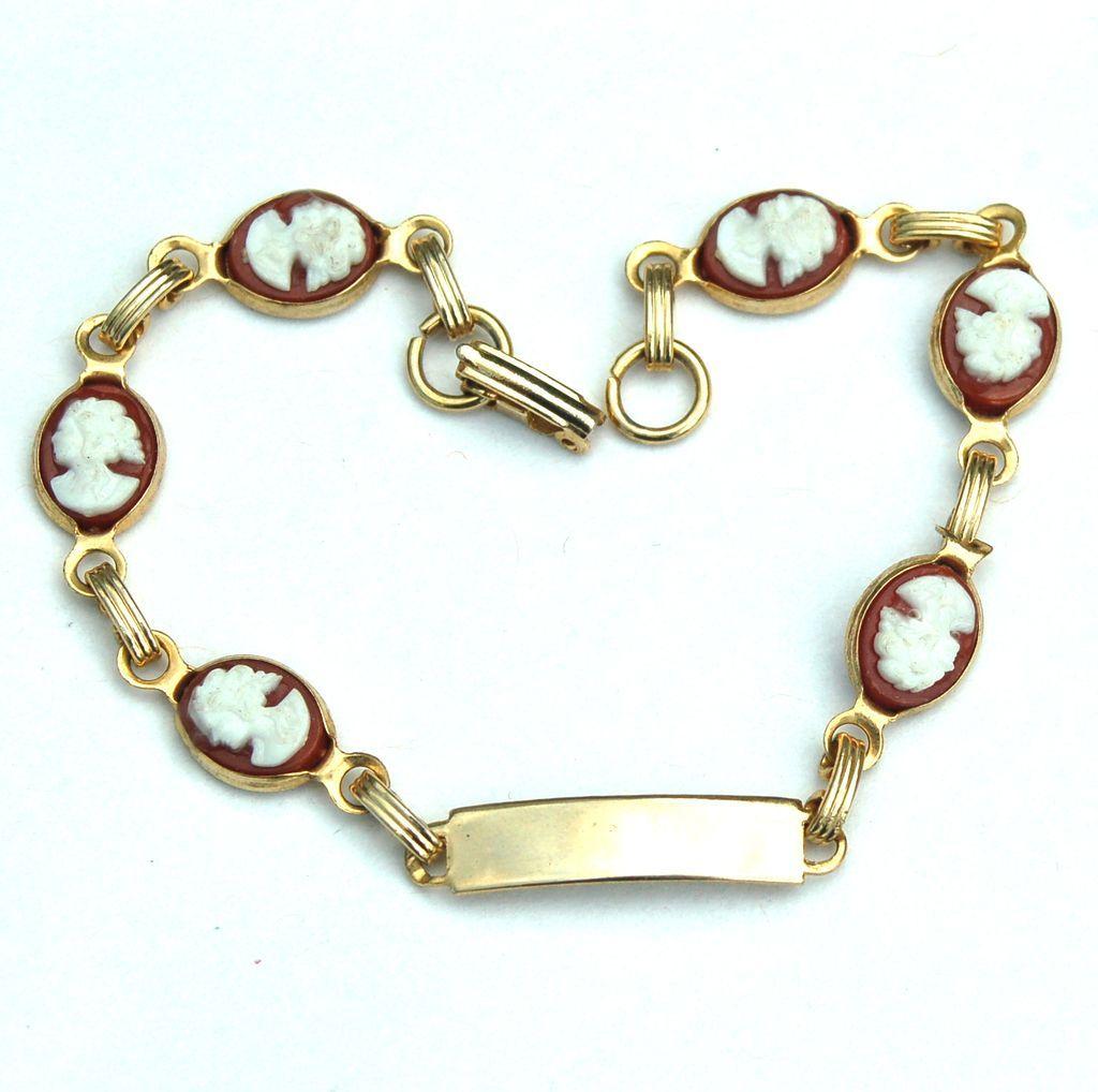 Vintage Cameo Bracelet, Engravable Front Panel