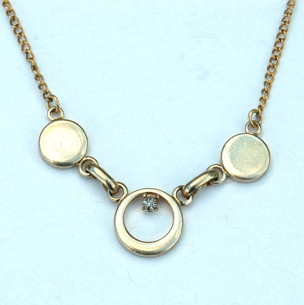 Vintage Hallmarked 14K Yellow GOLD Filled Necklace with Diamond