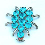 Vintage Blue Rhinestone SPIDER Pin, Open Backed Stones