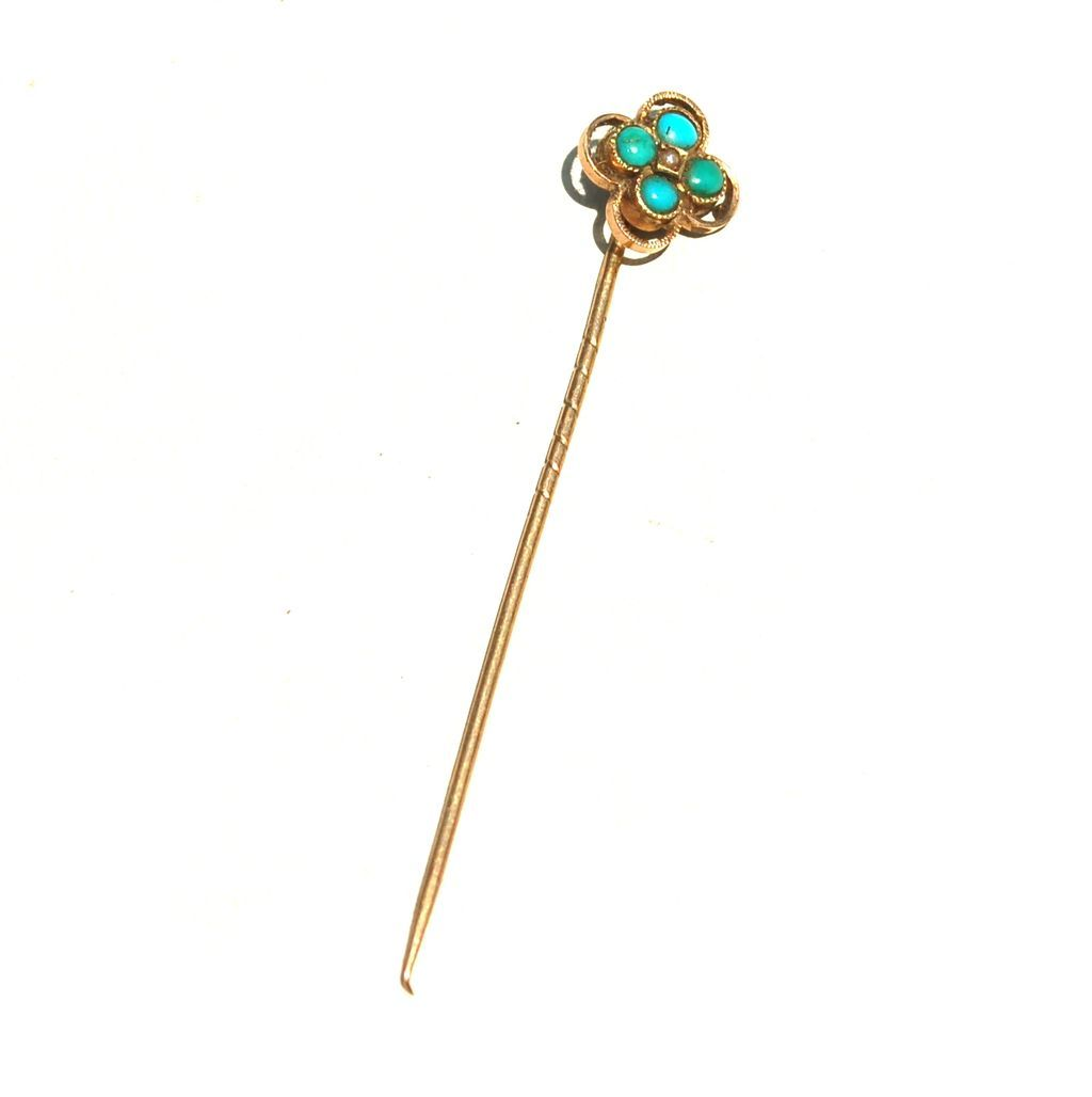 Victorian Era Hallmarked 14K and Turquoise Stick Pin