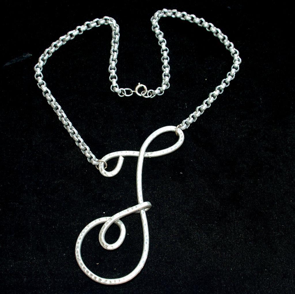 "Huge Hammered Aluminum Initial Necklace, Letter F, 5"" Long!"
