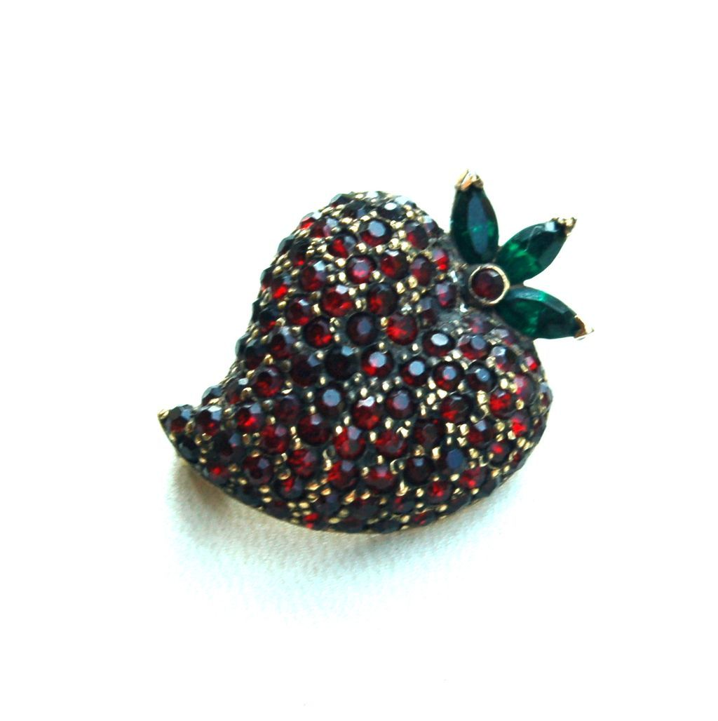 Vintage Signed JOMAZ Ruby Red Rhinestone Strawberry Pin