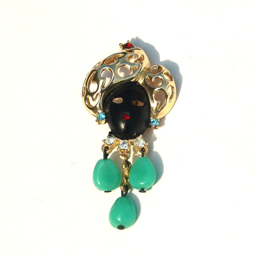 Vintage BLACKAMOOR Pin With Rhinestones and Green Dangling Stones