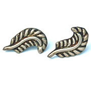Vintage Hallmarked TAXCO Mexico Sterling Silver Leaf Earrings