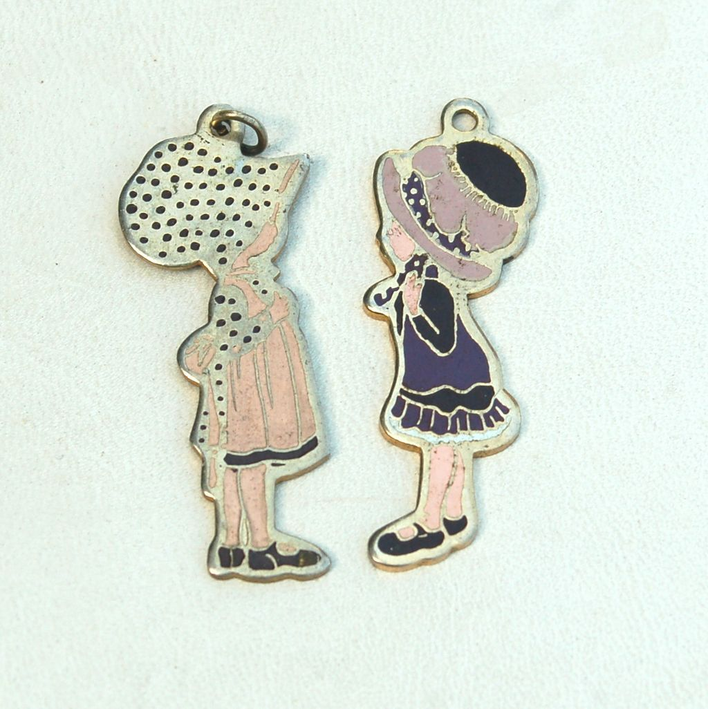 Vintage 1970's HOLLY HOBBIE And Friend Enamel Pendant Set