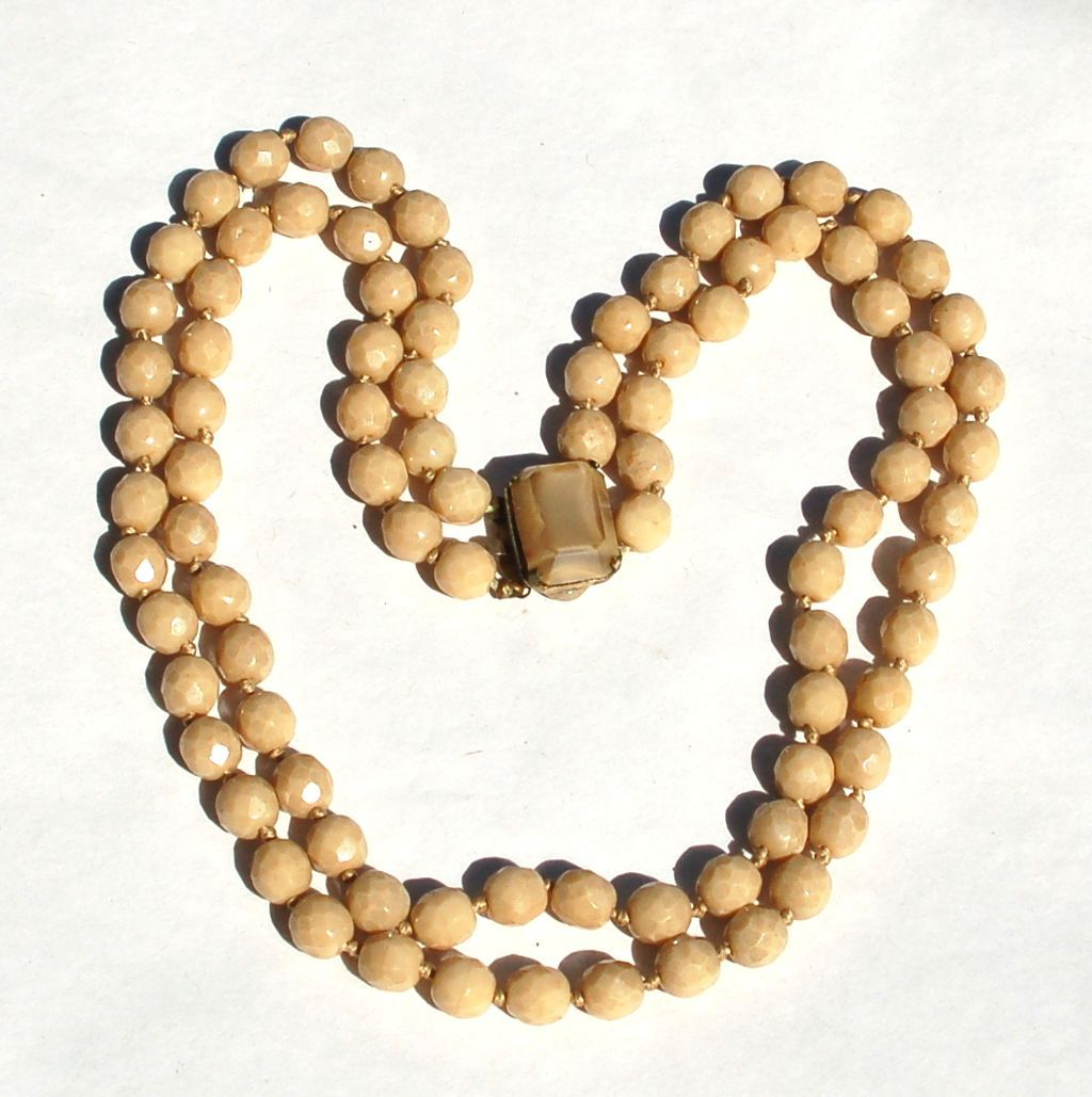 Vintage Signed EUGENE Coffee and Cream Crystal Glass Double Strand Necklace