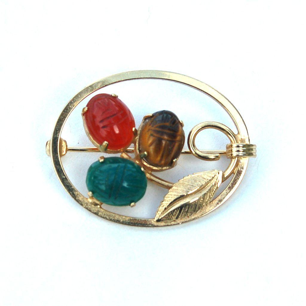 Vintage Hallmarked 12K Gold Filled Scarab Pin, Burt Cassell
