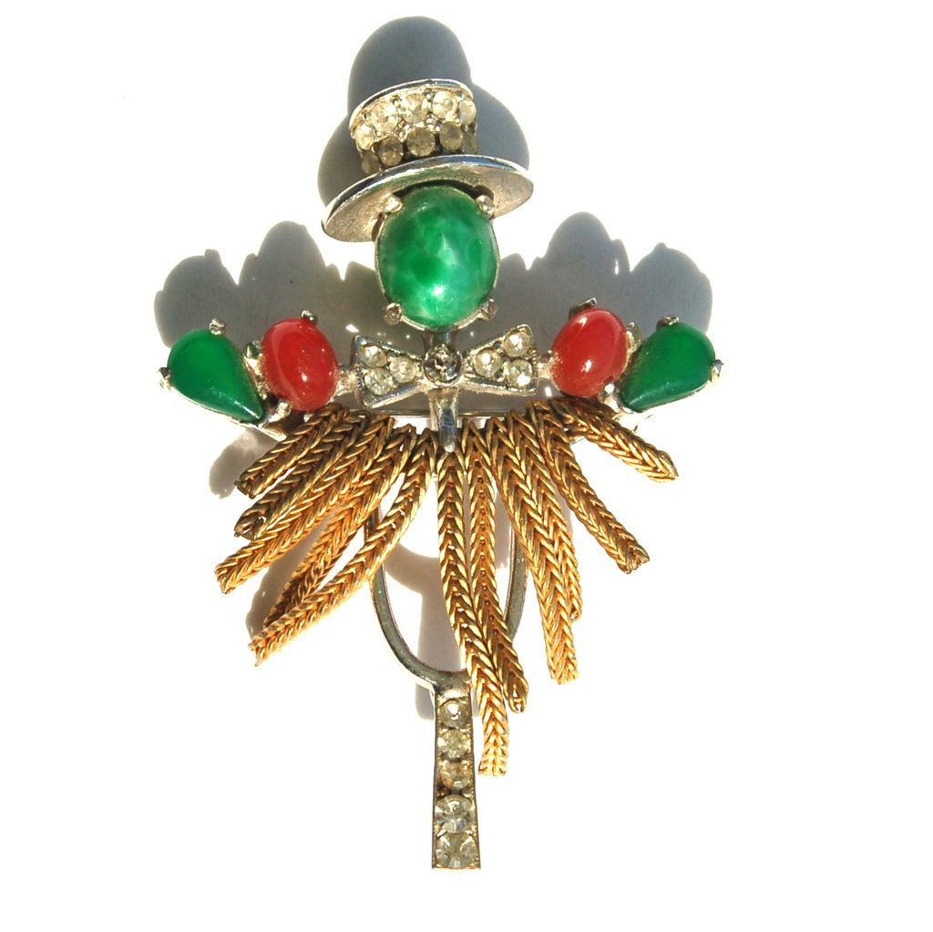 Vintage Signed WEISS Rhinestone and Glass Scarecrow Pin