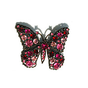 Vintage Hot Pink and Red Rhinestone Butterfly Pin
