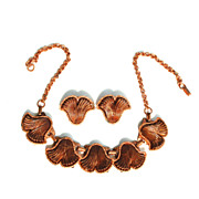 Vintage Copper Colored Metal and Lucite Demi, Necklace and Clip Earrings