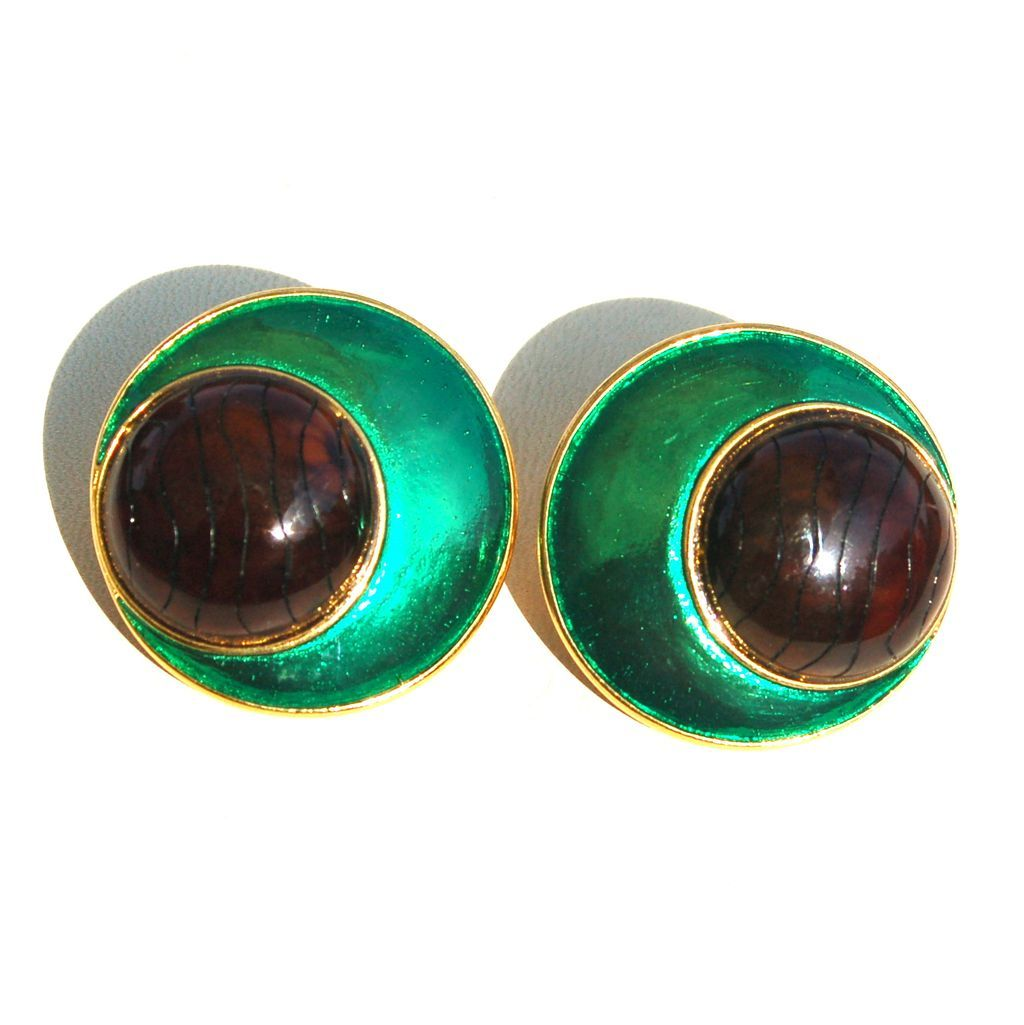 Signed YSL Yves Saint Laurent Metallic Green and Faux Leather Look Earrings