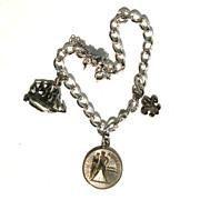 Vintage STERLING SILVER Charm Bracelet, Ship Military