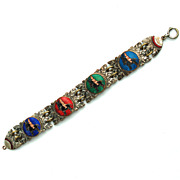 Ethnic Indian on Donkey Guilloche Enamel Link Bracelet