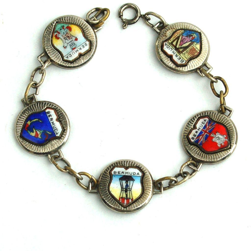 Vintage BERMUDA Souvenir Enameled Travel Shield Bracelet