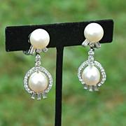 Art Deco Era Platinum Diamond and Drop Pearl Earrings, Hallmarked