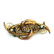 Victorian Gold Filled Pin With Pearls and Garnets