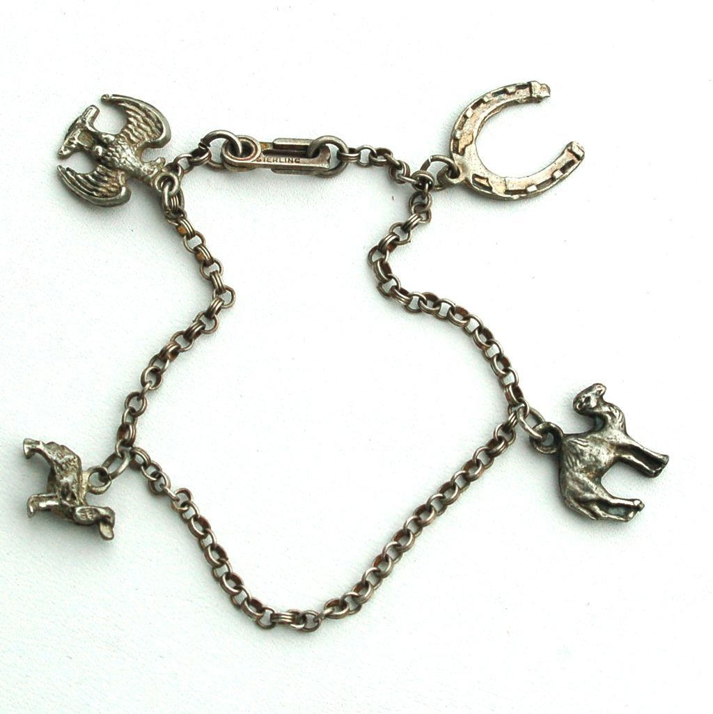 C. 1930-1940 Early Sterling Silver Charm Bracelet With 4 Charms