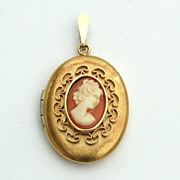 Vintage Hand Carved Shell Cameo Locket