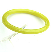 Vintage Flourescent Yellow Glass Bangle Bracelet
