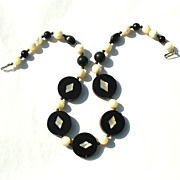 Ethnic Dyed Horn, Onyx, and Mother of Pearl Necklace, Inlaid