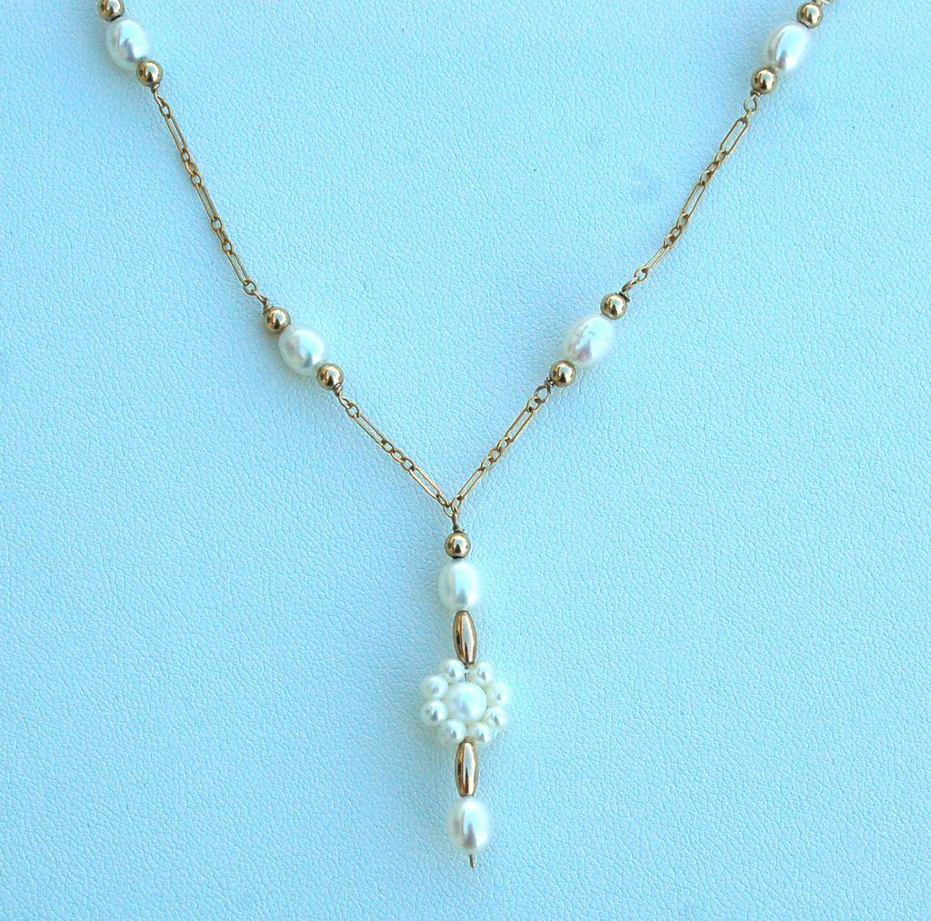 Vintage 14K GOLD FILLED Pearl Necklace
