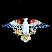 Vintage Enameled Red White and Blue Patrioitic Eagle Pin