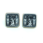 Vintage Oversized Egyptian Hieroglyphics Mens Cuff Links