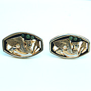 Vintage Signed SWANK Egyptian Sphinx With Jade Colored Glass Mens Cuff Links