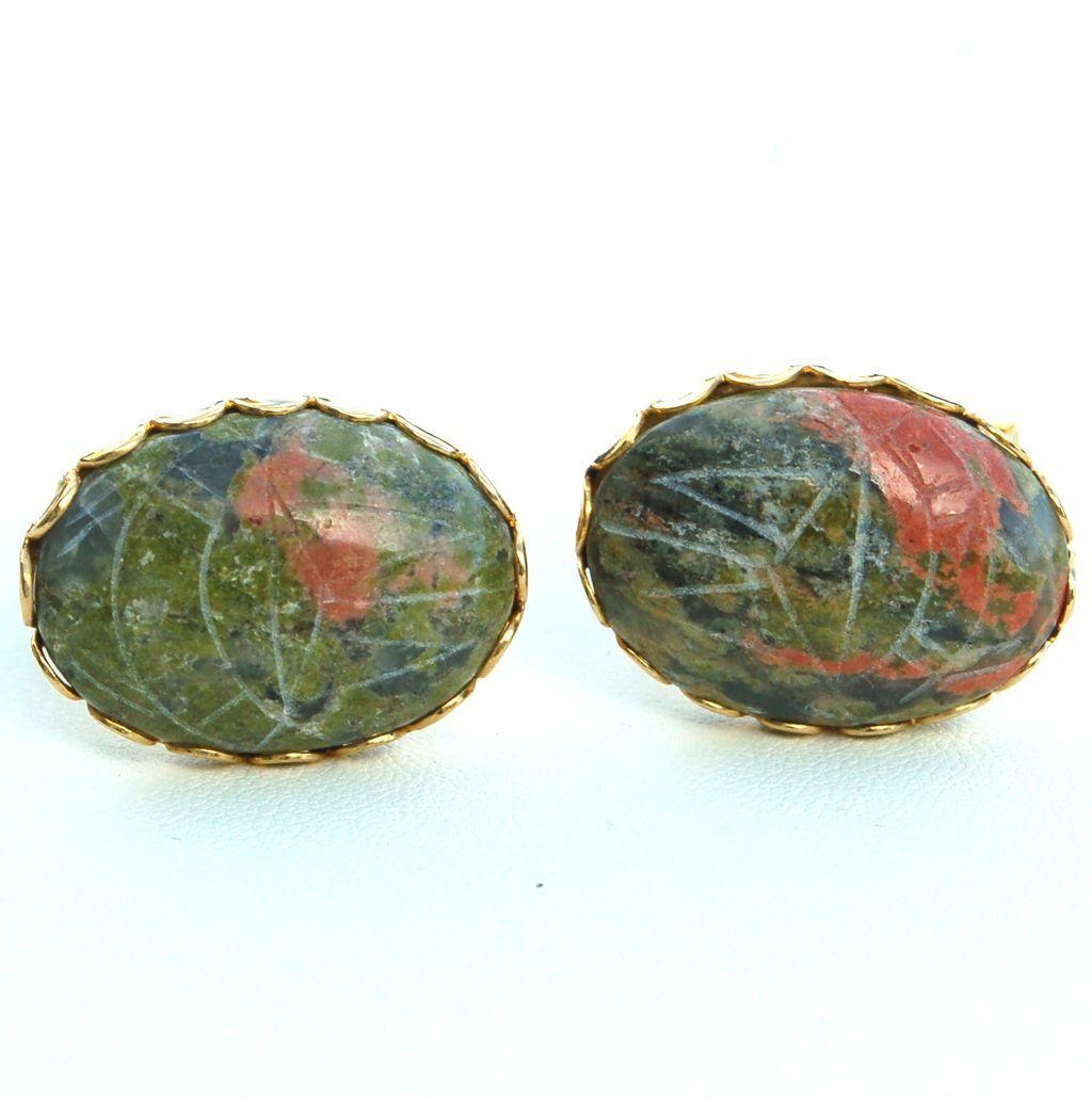 Vintage Oversized Unakite Stone Scarab Mens Cuff Links