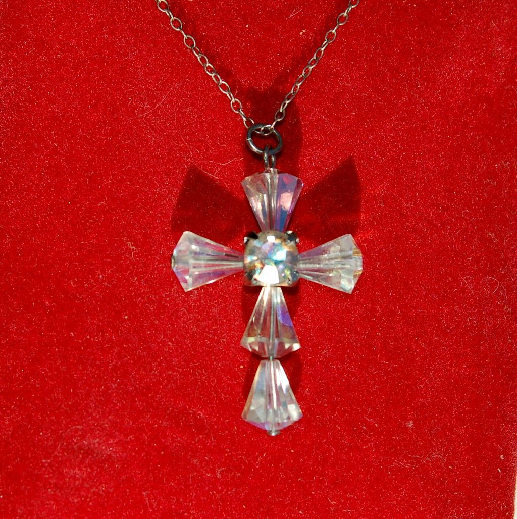 Vintage Hallmarked STERLING SILVER and Crystal Cross Necklace Chain